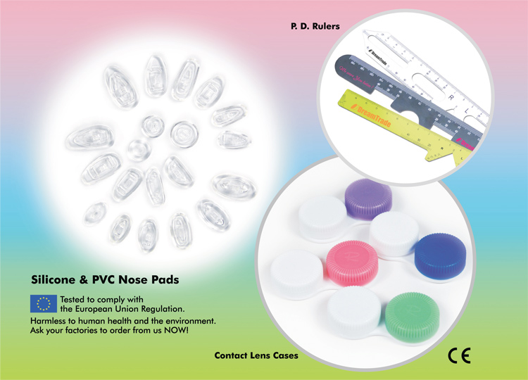 Silicone & PVC Nose Pads: Tested to comply with the European Union Regulation.  Harmless to human health and the environment.  Ask your factories to order from us NOW!  Also available: P.D. Rulers & Contact Lens Cases.