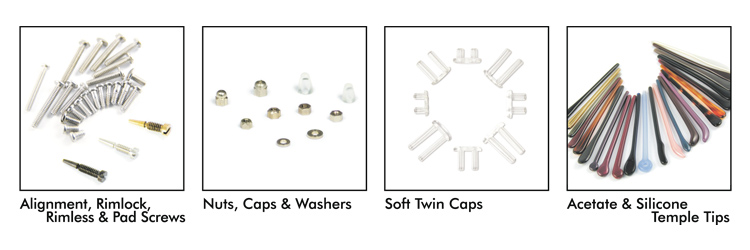 DreamTrade Company Products Overview: Alignment, Rimlock, Rimless & Pad Screws; Nuts, Caps & Washers; Soft Twin Caps; Acetate & Silicone Temple Tips.