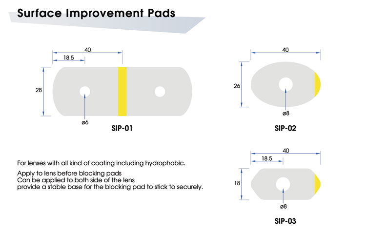 Surface Improvement Pads SIP-01 / SIP-02 / SIP-03: For lenses with all kind of coating including hydrophobic.  Apply to lens before blocking pads.  Can be applied to both side of the lens.  Provide a stable base for the blocking pad to stick to securely.